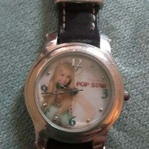 Licensed Disney Vintage Hannah Montana Black Leather Strap Watch